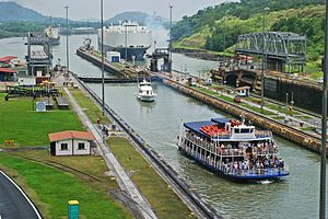 The Amazing Race 29 -  Miraflores Locks on the Panama Canal was the first destination visited in the 29th season of The Amazing Race after teams started off at Grand Hope Park in Downtown Los Angeles.