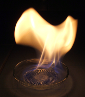 Alcohol fuel - A dish of ethanol aflame
