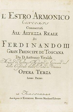 L'estro armonico - Title page of 1711