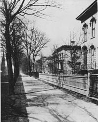 "Homes on Euclid Avenue's ""Millionaire's Row"" (south side of Euclid Avenue), circa 1870"