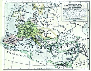 Aesti - A political map of Europe by Shepherd, situation as of c. 526-600.
