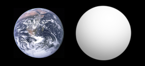 Kepler-438b - Approximate size comparison of Kepler-438b (right) with Earth