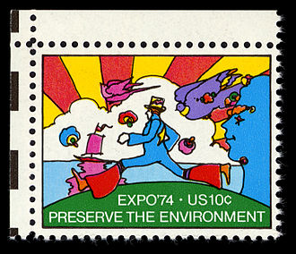 Peter Max - U.S. postage stamp featuring Max's artwork commemorating Expo '74