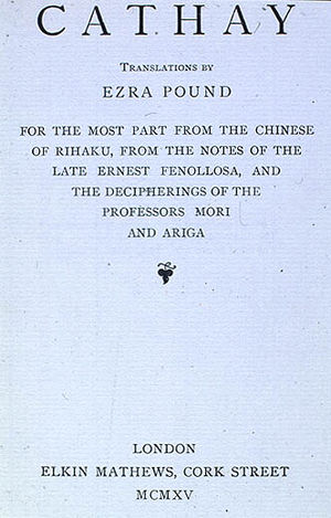 """English: Title page from Ezra Pound, """"Cat..."""