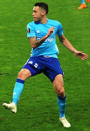 Ocampos playing for Marseille in 2018 FC Salzburg vs Olympique Marseille (3. Mai 2018) 04 (cropped).jpg