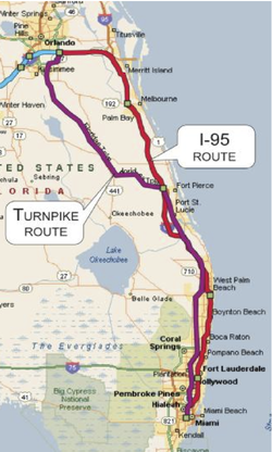 Florida Rail Enterprise map of the Orlando Miami route