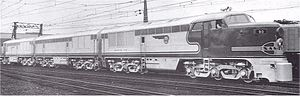 FM Erie-built - The lone A-B-A set of Erie-builts ordered by the Atchison, Topeka and Santa Fe Railway, built in May 1947, hauled a number of its named passenger trains, among them the Super Chief and San Diegan.