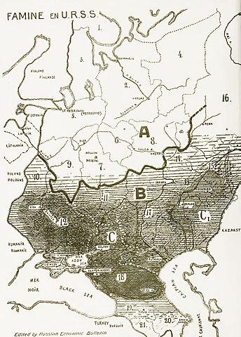 Карта главных районов голода в СССР