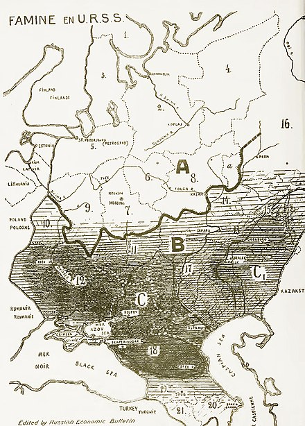 Soviet famine of 1932-33. Areas of most disastrous famine marked with black. Famine en URSS 1933.jpg