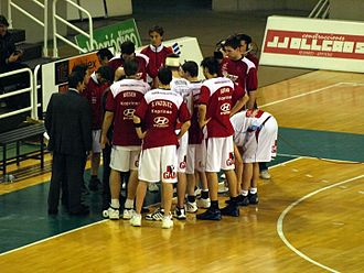Gijón Baloncesto - The roster of the 2007–08 season, during a timeout at Cáceres 2016.