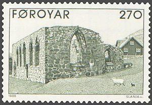 Magnus Cathedral - Image: Faroe stamp 169 cathedral ruins in kirkjubour