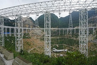 Five-hundred-meter Aperture Spherical Telescope radio telescope located in Pingtang County, Guizhou Province, China