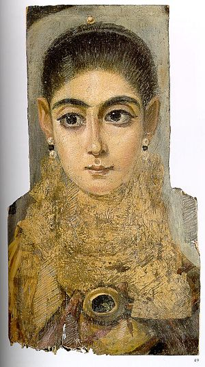 Fayum mummy portraits - Mummy portrait of a young woman, 3rd century, Louvre, Paris.