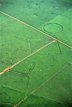 Geoglyph - Geoglyphs on deforested land in the Amazon rainforest.