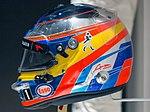 Fernando Alonso 2016 Singapore helmet left 2017 Museo Fernando Alonso.jpg