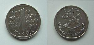 1 финляндская марка 1990 года