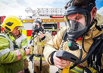 Staffordshire Fire and Rescue Service - Staffordshire firefighters wearing breathing apparatus