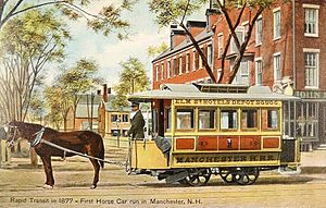 Horsecar - Manchester, New Hampshire's first horsecar, dating from 1877, and on display about 1908.