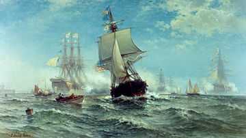 Zeil oorlogsschepen op zee met vol zeil;  in het midden van het midden, het Amerikaanse schip;  op de achtergrond vier Franse oorlogsschepen in een waas die het een kanonsroet met buskruit geven;  kleine boten ook in het water in het midden.