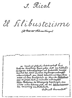 El filibusterismo - Facsimile copy of the first page of the manuscript of El Filibusterismo