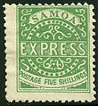 Five shilling Samoa Express stamp-forged.jpg