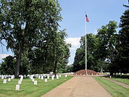 Flagpole at the center of Culpeper National Cemetery