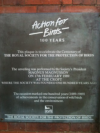 Royal Society for the Protection of Birds - Plaque at Fletcher Moss Park, Manchester, commemorating the foundation of the RSPB