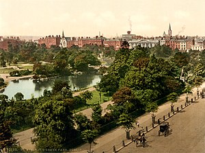 Catholic University School - Photochrom print showing St. Stephen's Green at the end of the 19th century