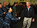 Flickr - Official U.S. Navy Imagery - Former President George W. Bush shakes hands with Sailors aboard the aircraft carrier USS George H.W. Bush..jpg