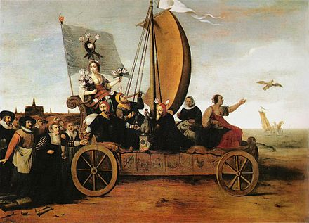 Wagon of Fools by Hendrik Gerritsz Pot, 1637. Followed by Haarlem weavers who have abandoned their looms, blown by the wind and flying a flag emblazoned with tulips, Flora, goddess of flowers, her arms laden with tulips, rides to their destruction in the sea along with tipplers, money changers and the two-faced goddess Fortuna. Flora's Malle-wagen van Hendrik Pot 1640.jpg
