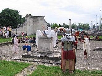 Polytheistic reconstructionism - Nova Roma sacrifice to Concordia at Aquincum (Budapest), Floralia 2008