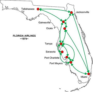 Florida Airlines - Wikipedia on air florida route map, southwest airtran route map, southern airways route map, british airways route map, south west route map, britannia airways route map, south west airlines seat map, braniff international route map, south west airline from seattle map, southwest airlines flight routes map,