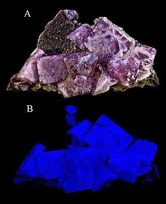 Fluorite - Fluorescing fluorite from Boltsburn Mine, Weardale, North Pennines, County Durham, England, UK.
