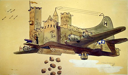 The B-17's capacity to repel enemy attacks and still inflict heavy damage upon German military capability and production centers is rendered in this caricature. Flying Fortress Cartoon.jpg