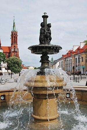 Fontanna i widok na katedrę, Rynek Kościuszki, Białystok 2011