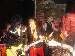 I Foxboro Hot Tubs in Concerto nel 2010. Al centro Billie Joe Armstrong aka Reverend Strychnine Twitch