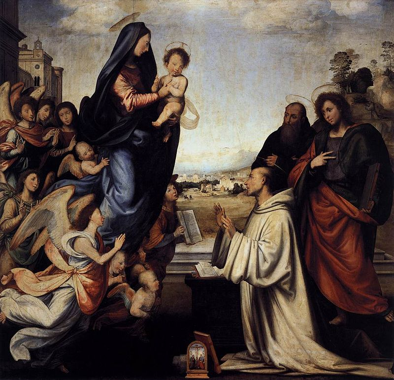 Fra bartolomeo 02 Vision of St Bernard with Sts Benedict and John the Evangelist.jpg