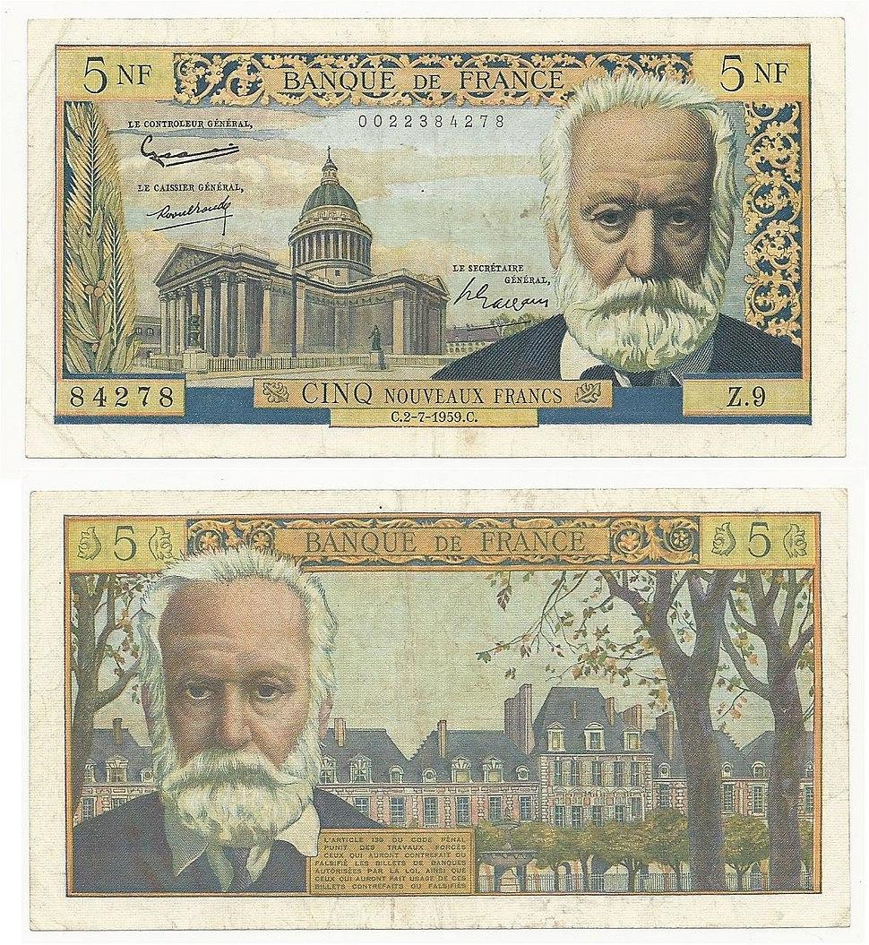 France 5 Nouveaux Francs 1959. VF- Banknote