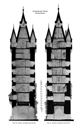 Eschenheimer Turm - Cross section, 1885