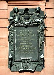 Memorial placque on the Paulskirche at Frankfurt