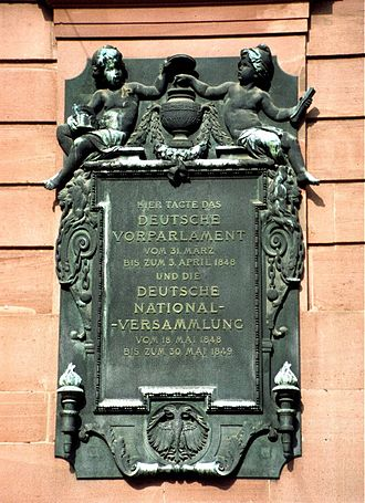 Frankfurt Parliament - Memorial plaque on the Paulskirche, Frankfurt