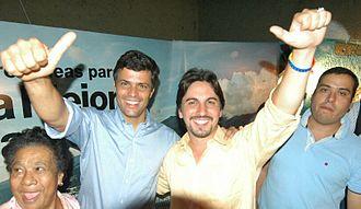 Leopoldo López - López with Voluntad Popular party official, Freddy Guevara in 2011