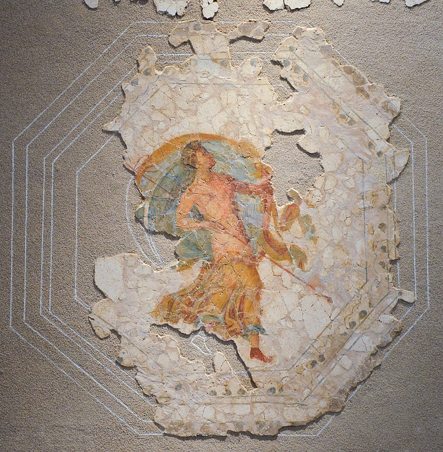 Fresco depicting a menead carrying a thyrsus
