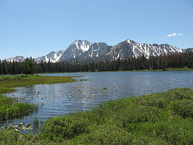 A photo of the White Cloud Mountains from Frog Lake