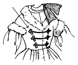 Frog (fastening) - Frog fasteners close and decorate the bodice opening of a dress.