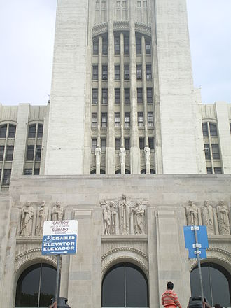 LAC+USC Medical Center - Front entrance of the historic building.