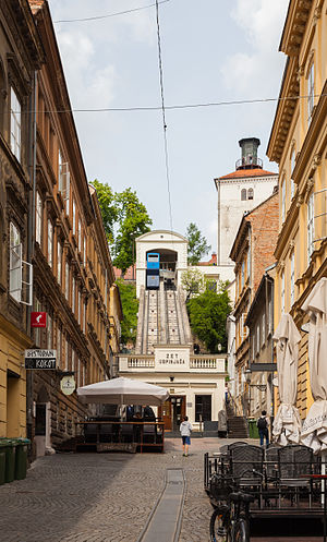 Zagreb Funicular - Looking at the funicular from Tomić Street