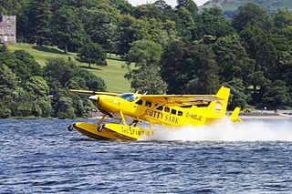 Floatplane aircraft equipped with floats for operation from water surfaces