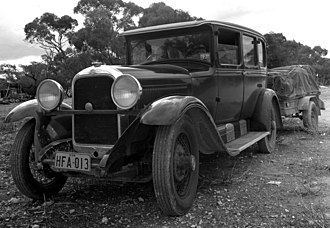 Studebaker Commander - Studebaker's 'World's Champion' 1928 GB Regal Commander Six, pictured on a 4000 km journey from Sydney to Perth, Australia, in 1975