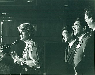 Geraldine Ferraro - Ferraro speaks at the 1984 Democratic National Convention. Standing behind her are California Congressmen Bob Matsui and Norman Mineta and future San Francisco supervisor Tom Hsieh.